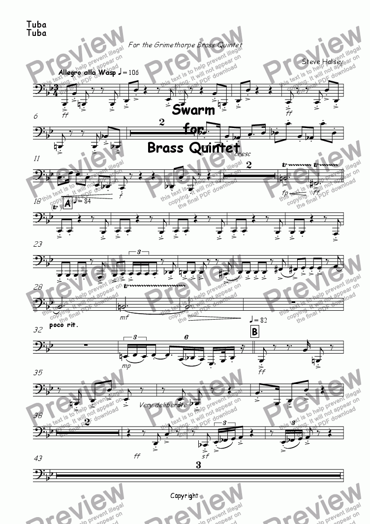 page one of the Trumpet part from Swarm for Brass Quintet