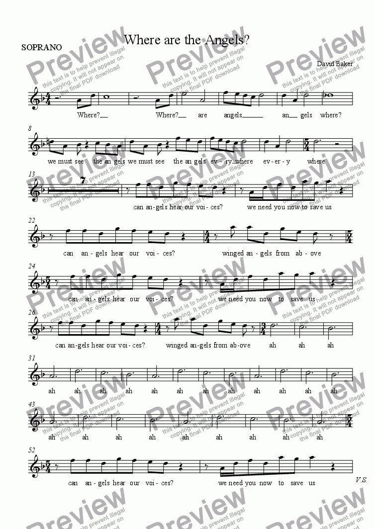 page one of the SOPRANO part from Where are the Angels?