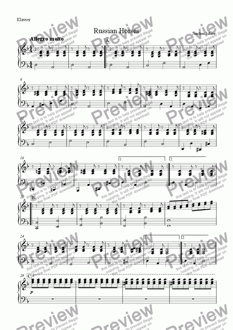 page one of the Piano part from My School Orchestra (01 Russian Horses Arr. I. Boumans for large Orchestra)