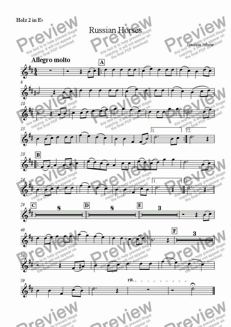 page one of the Holz  2 in Eb part from My School Orchestra (01 Russian Horses Arr. I. Boumans for large Orchestra)