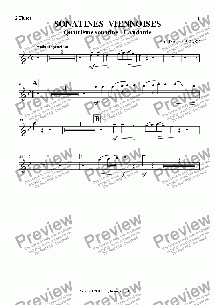 page one of the Flutes part from MOZART - Viennese Sonatina Nr IV - 1. Andante