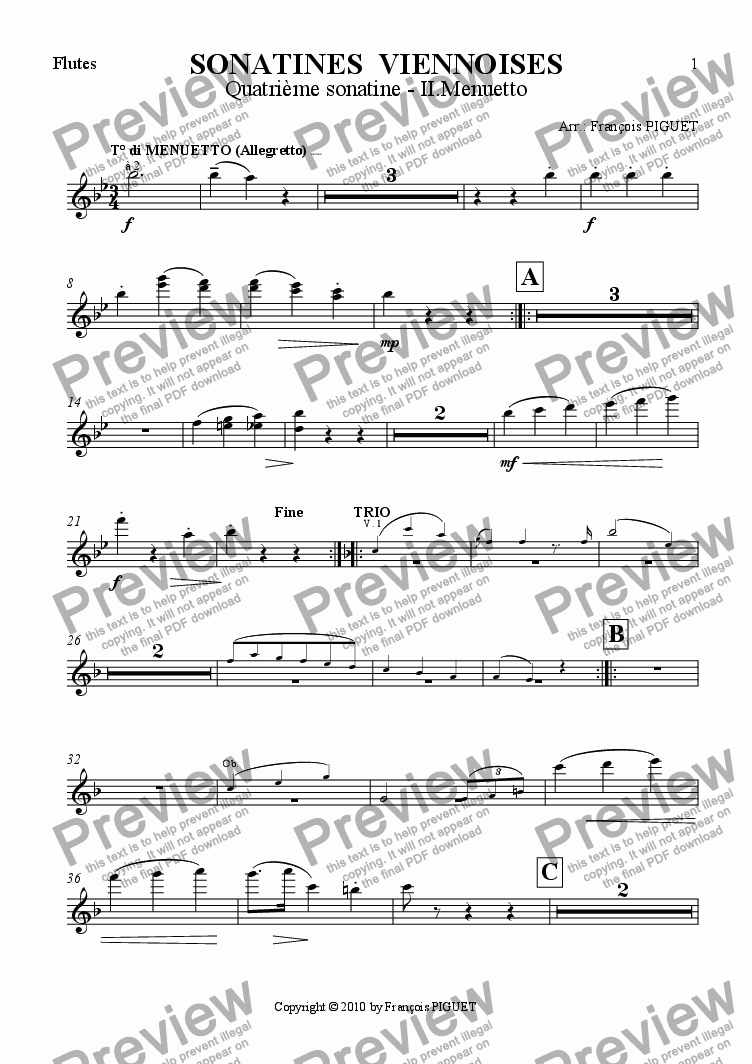 page one of the Flutes part from MOZART - Viennese Sonatina Nr IV - 2. Menuetto