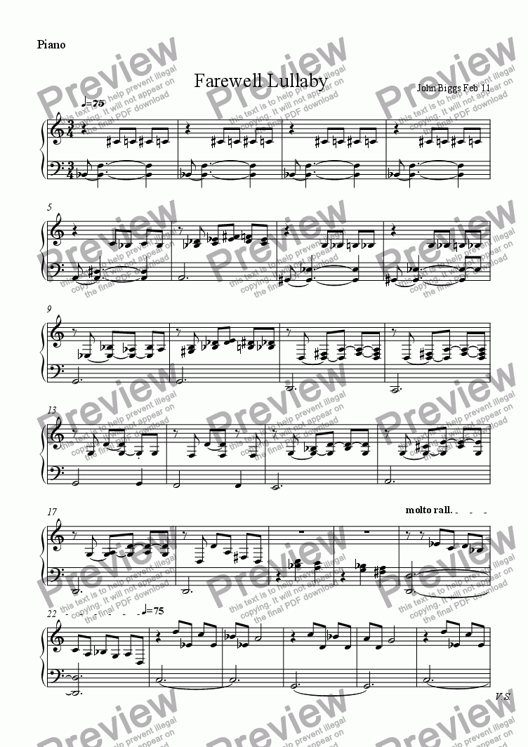 page one of the piano part from A Farewell lullaby for flute