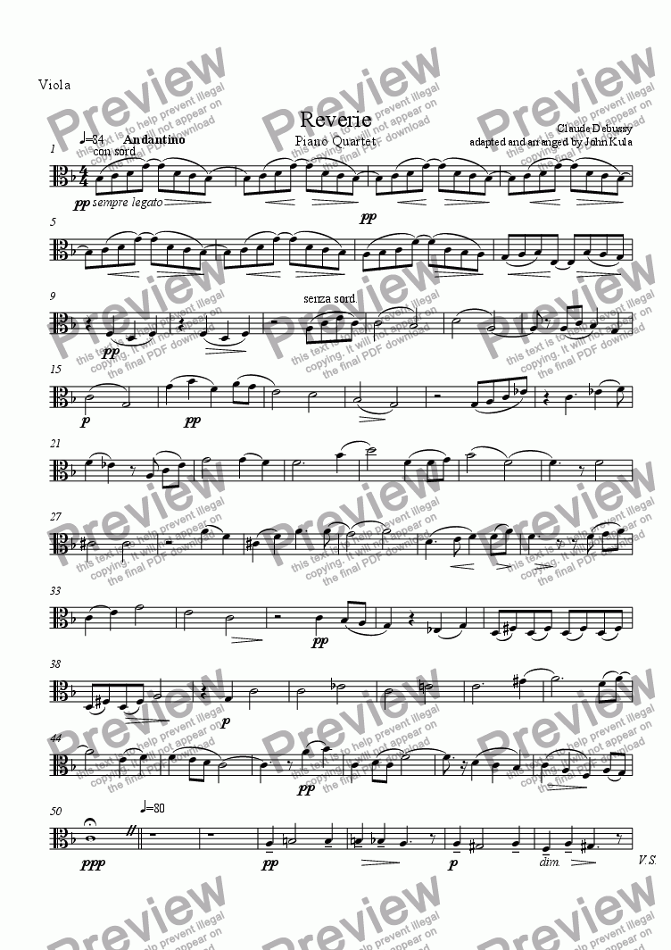 page one of the Viola part from Reverie - Piano Quartet (viola)