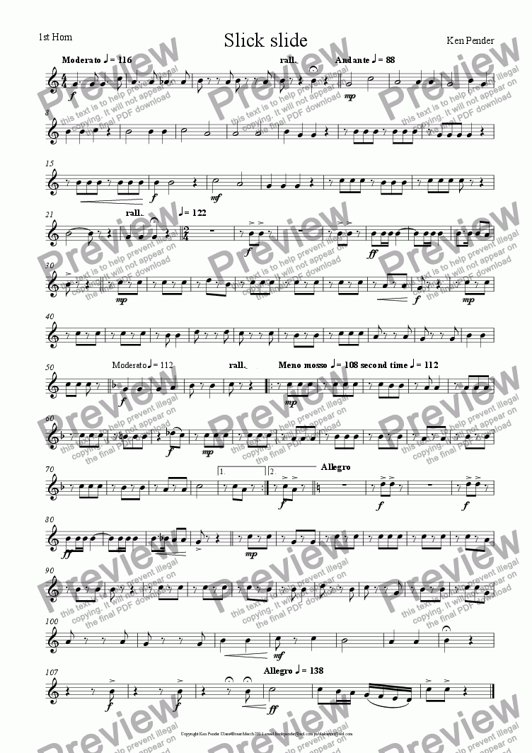 page one of the 1st horn part from Slick Slide