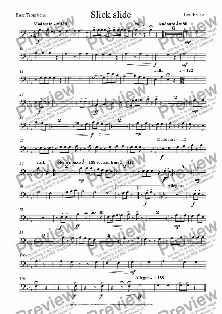 page one of the bass trombone part from Slick Slide