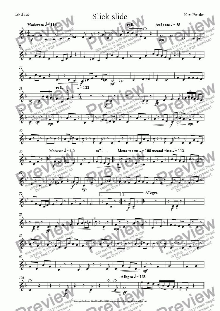 page one of the Bb Bass part from Slick Slide