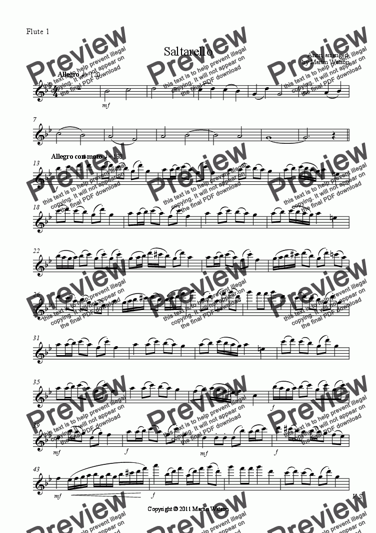 page one of the Flute 1 part from Saltarello for Flute Choir