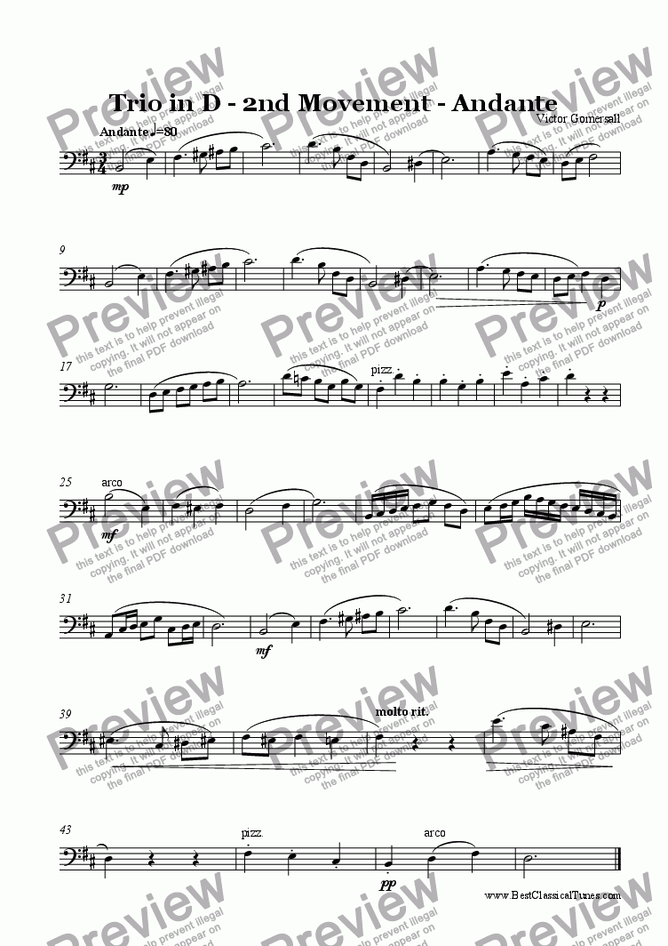 page one of the cello part from Piano Trio in D major Op.8.  2nd Movement - Andante