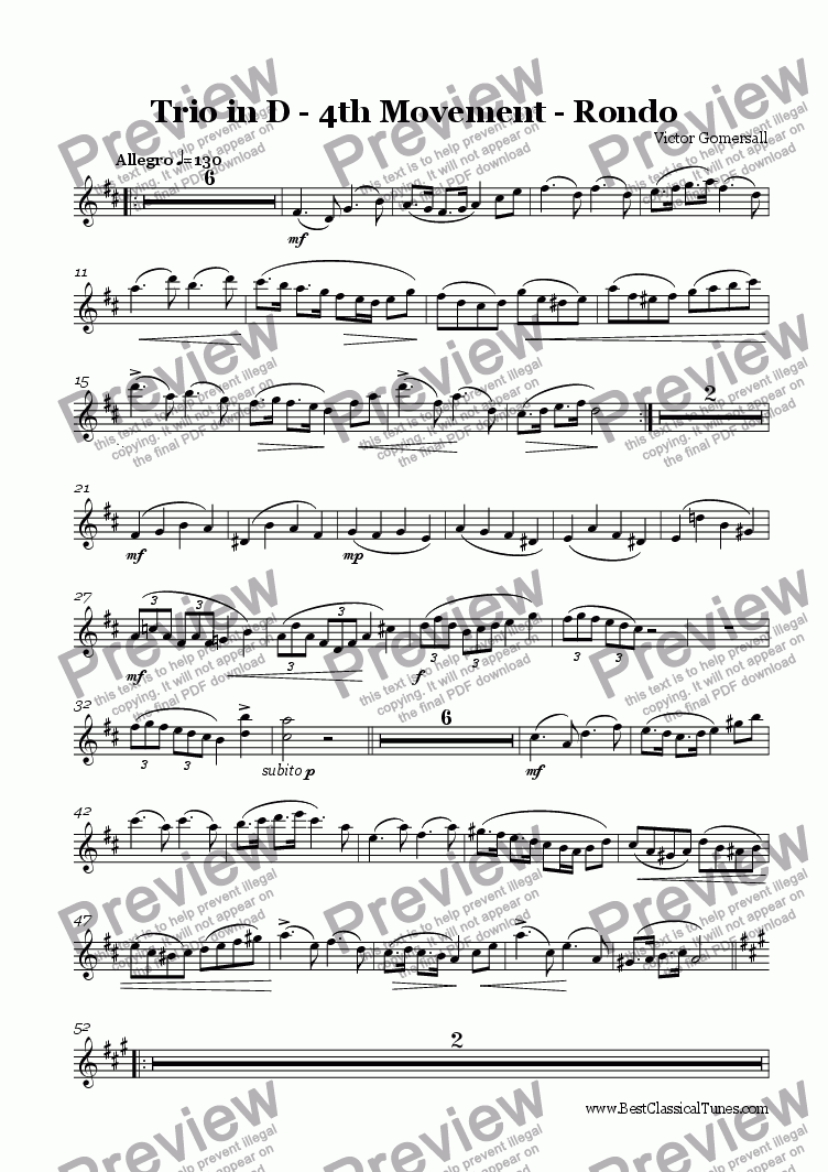 page one of the violin part from Piano Trio in D major Op 8.  4th movement - Rondo.