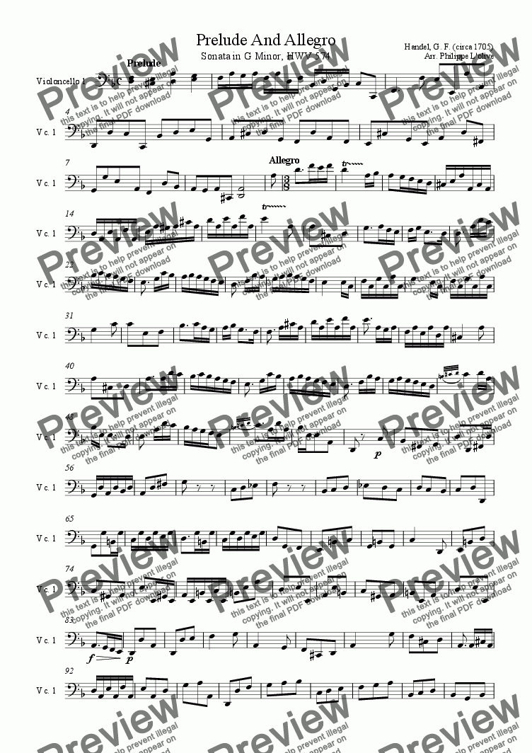 page one of the Violoncello 1 part from Prelude and Allegro (Sonata in Gminor), HWV 574