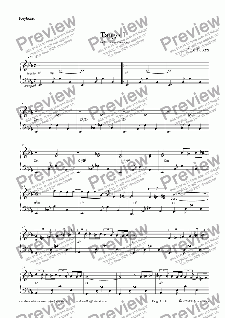 page one of the Piano part from Tango 1  [Peters]  solo inst + pno