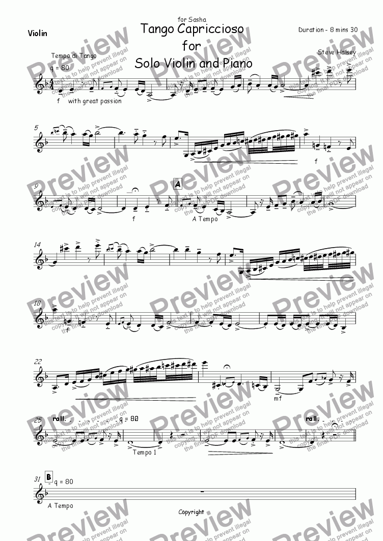page one of the Violin part from Tango Capriciosso for Violin and Piano