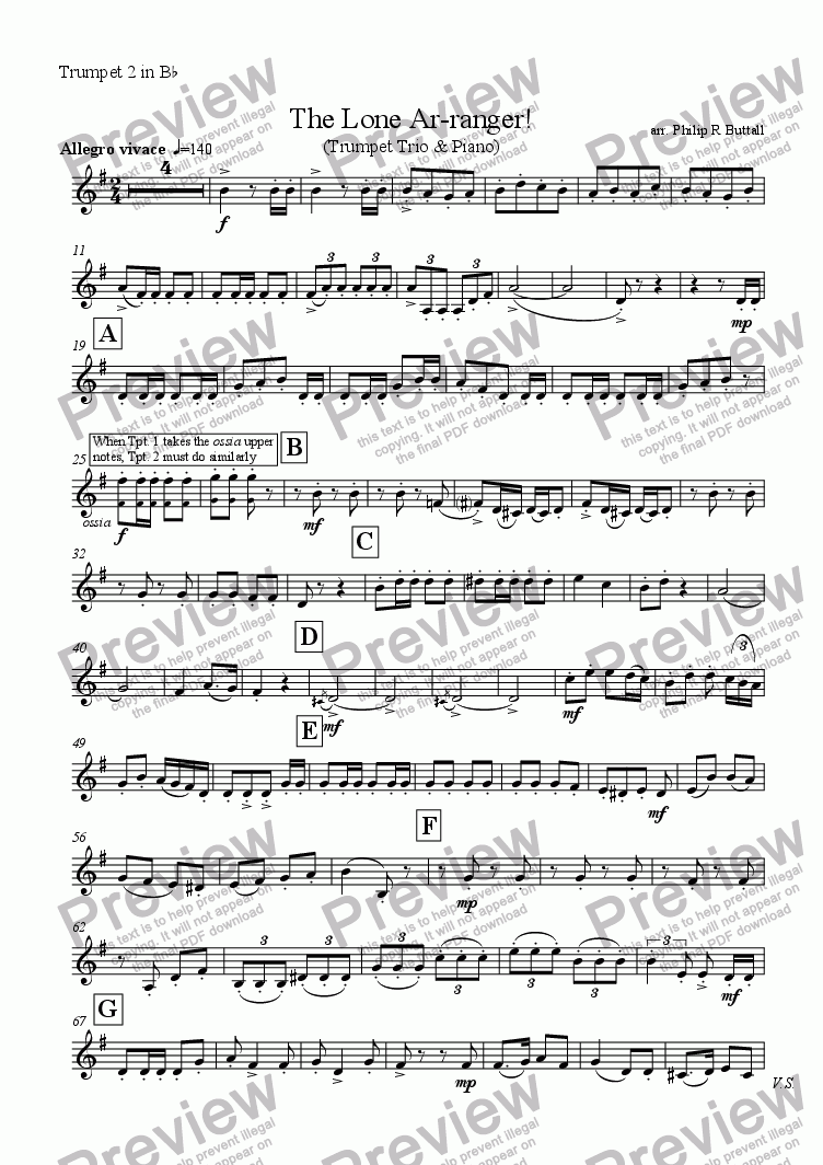 page one of the Trumpet 2 part from The Lone Ar-ranger! (Trumpet / Clarinet Trio & Piano)