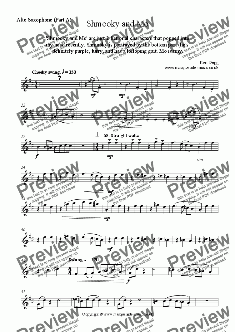 page one of the Eb instruments (Part A) part from 'Shmooky & Mo' Saxophone quartet (also Flexible C,Bb,Eb woodwind quartet)