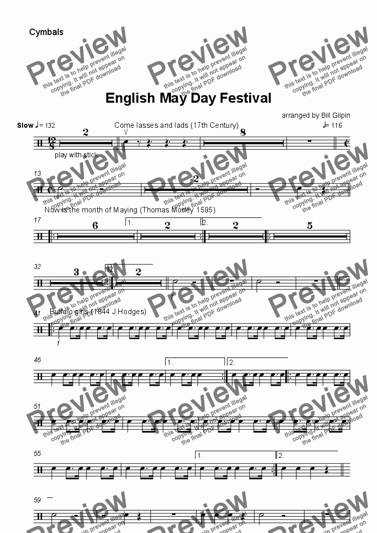page one of the Cymbals part from English May Day Festival