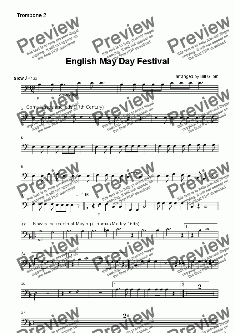 page one of the Trombone 2 part from English May Day Festival