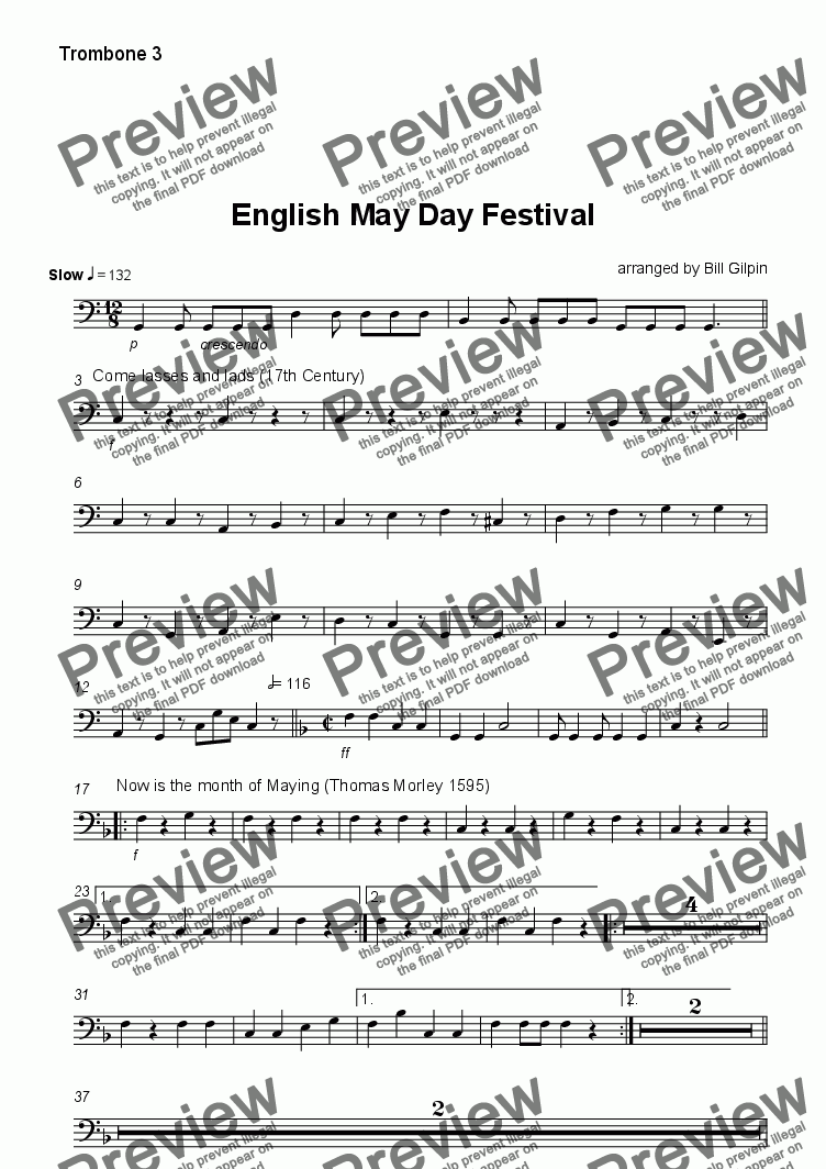 page one of the Trombone 3 part from English May Day Festival