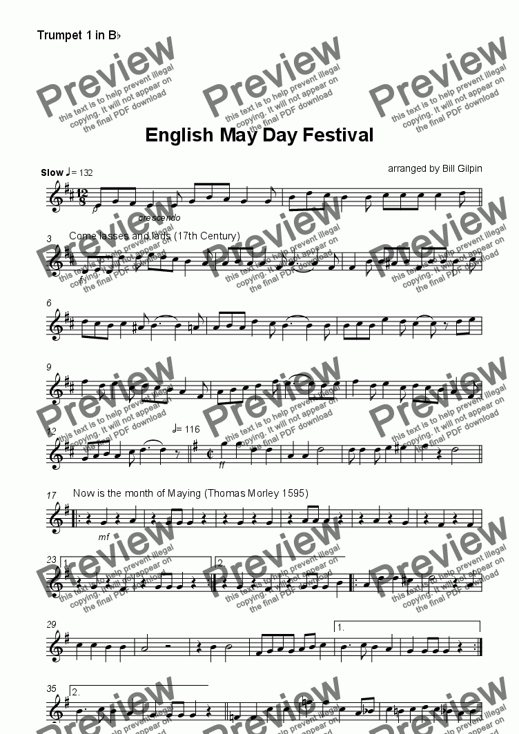 page one of the Trumpet 1 part from English May Day Festival