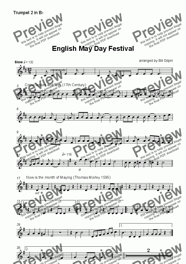 page one of the Trumpet 2 part from English May Day Festival