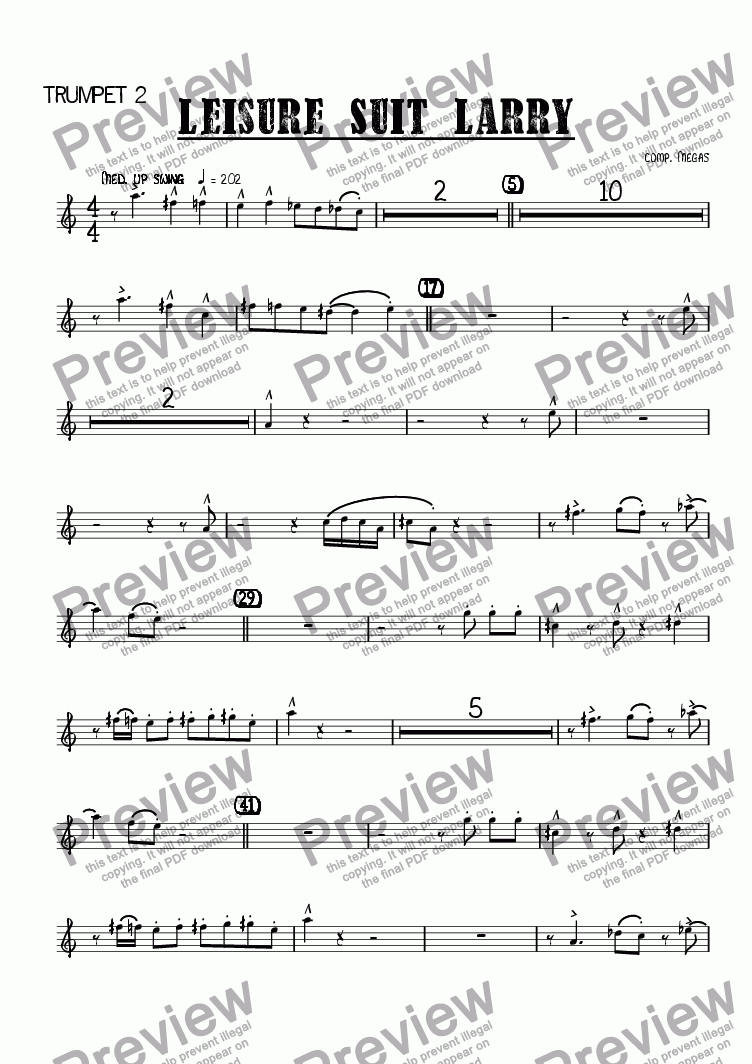 page one of the Trumpet 2 part from Leisure Suit Larry