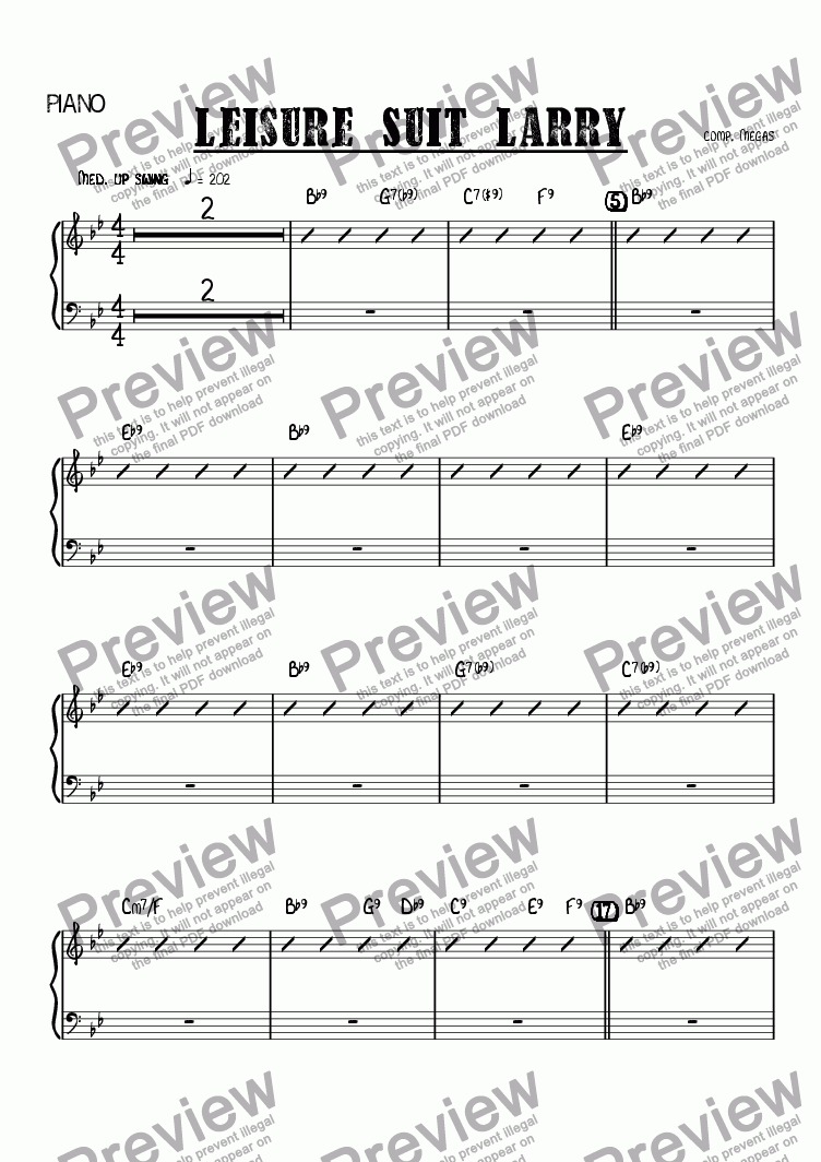 Piano Part From Leisure Suit Larry Download Sheet Music Pdf File Parts Diagram Page One Of The