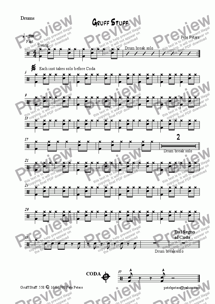 page one of the Drums part from Gruff Stuff [jazz 5tet]