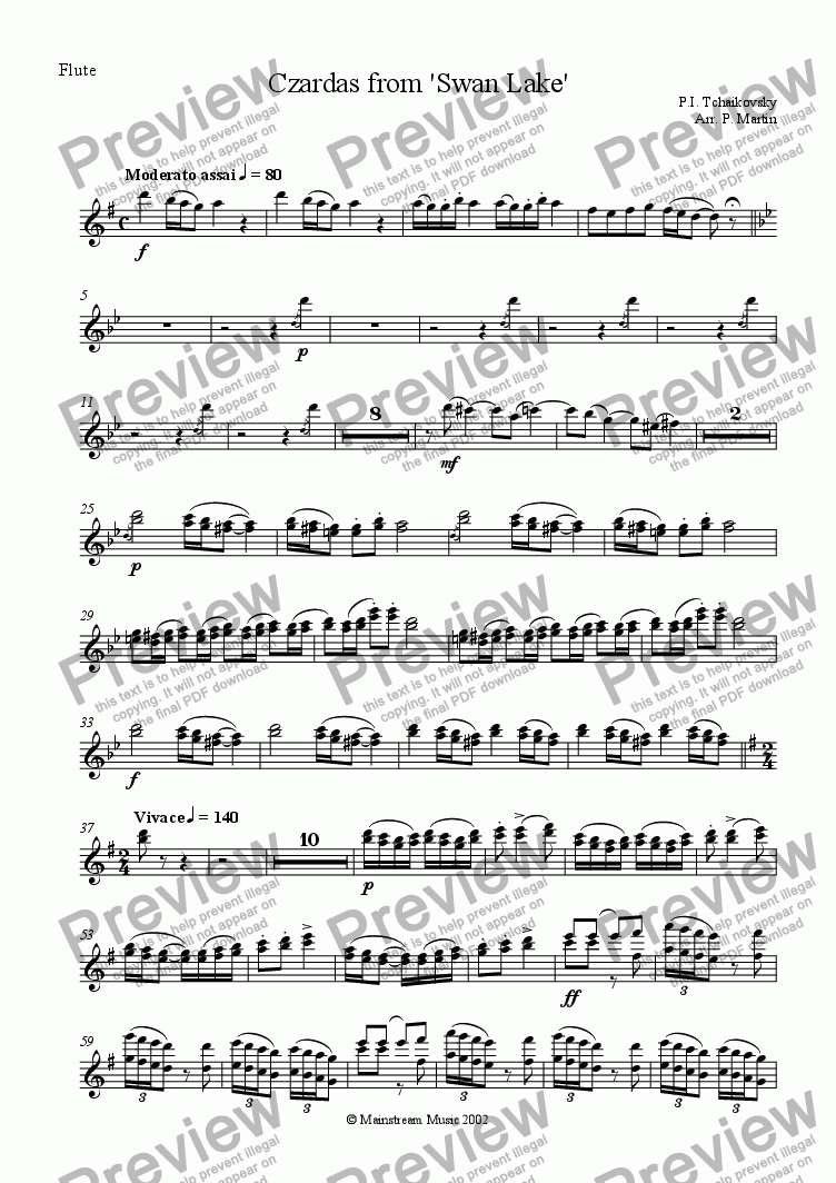 page one of the Flute part from Czardas from 'Swan Lake'