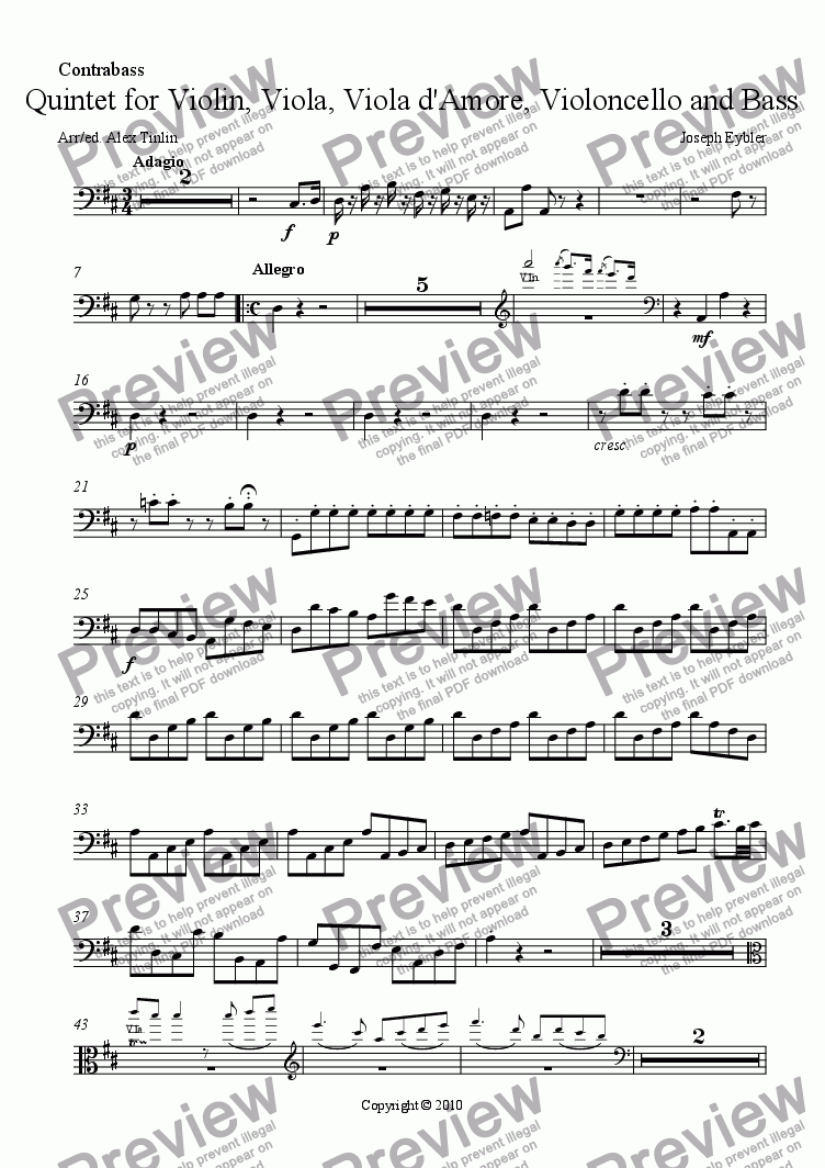 page one of the Bass part from Quintet for Violin, Viola, Viola d'amore, Violoncello and Bass