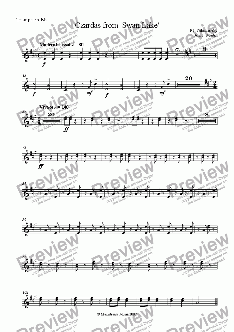 page one of the Trumpet in Bb part from Czardas from 'Swan Lake'