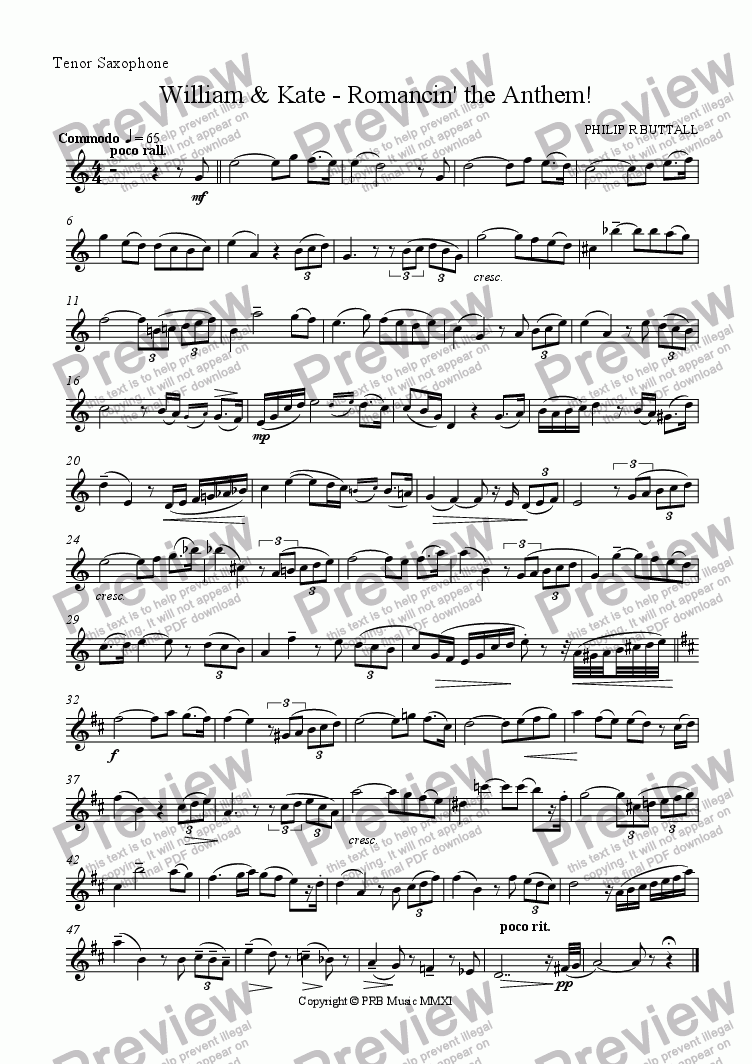 page one of the Tenor Saxophone part from William & Kate - Romancin' the Anthem!