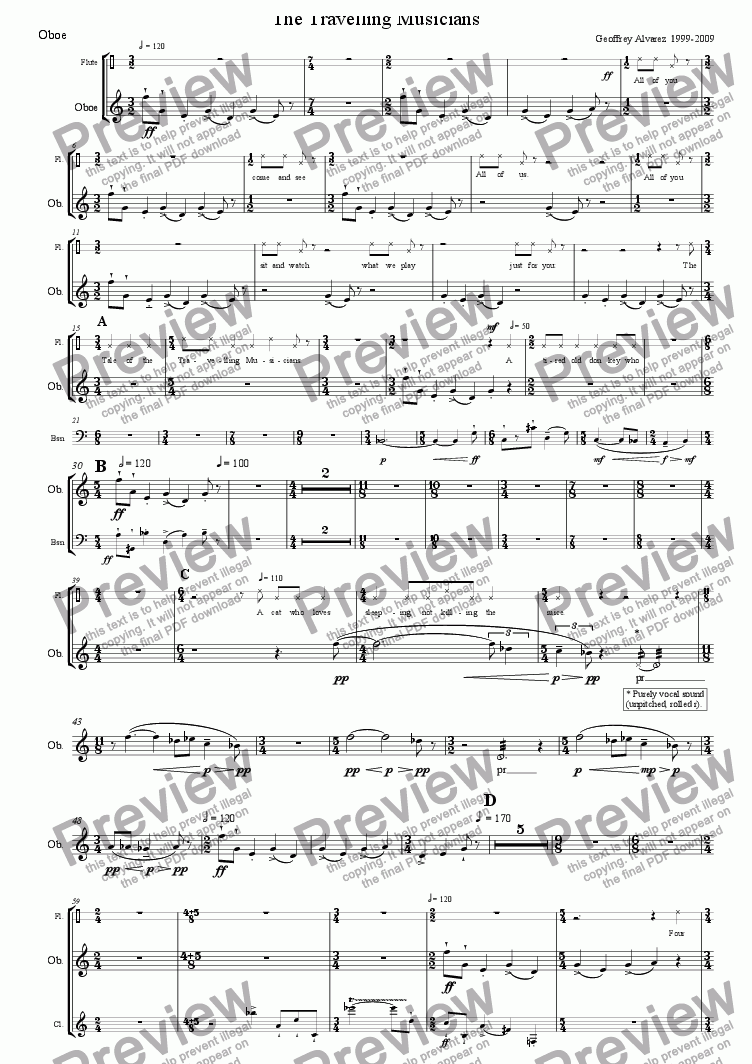 page one of the Oboe part from The Travelling Musicians