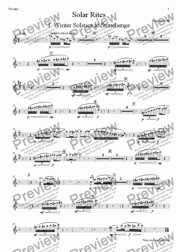 page one of the Piccolo part from Solar Rites - 1st movement