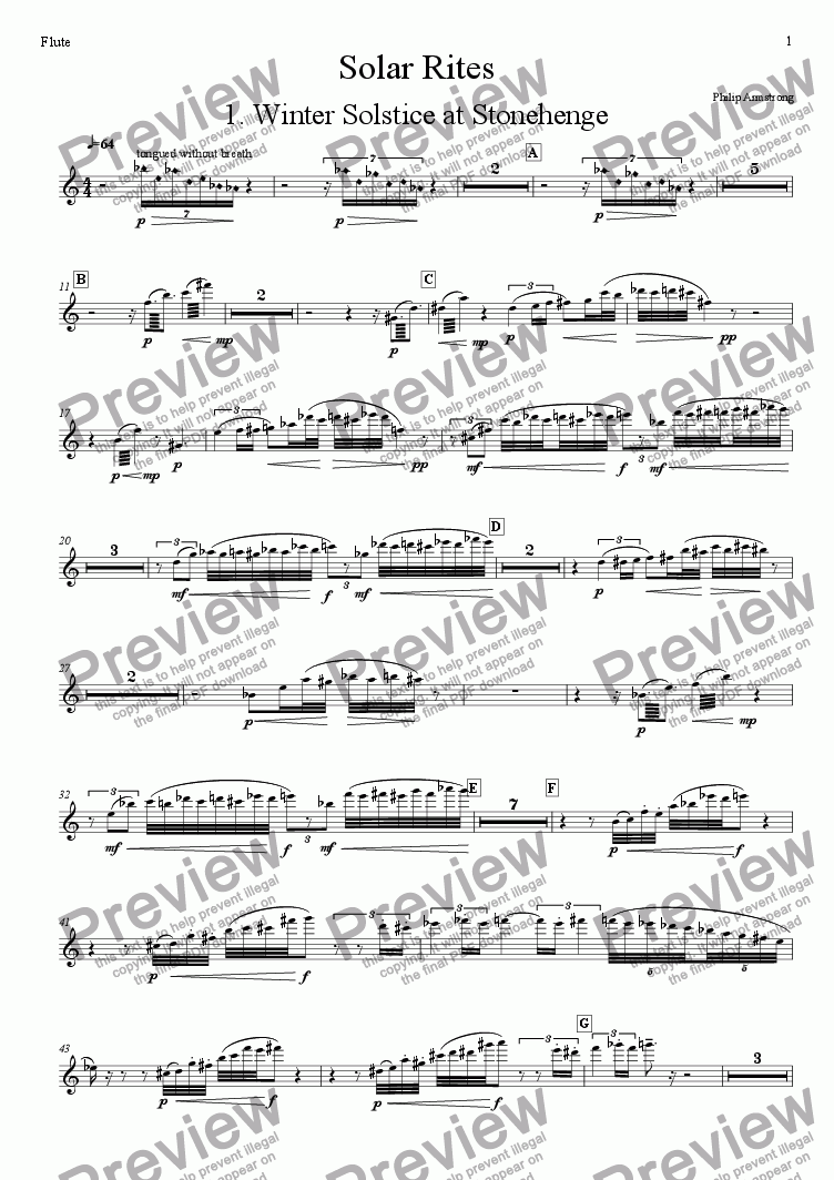 page one of the Flute part from Solar Rites - 1st movement