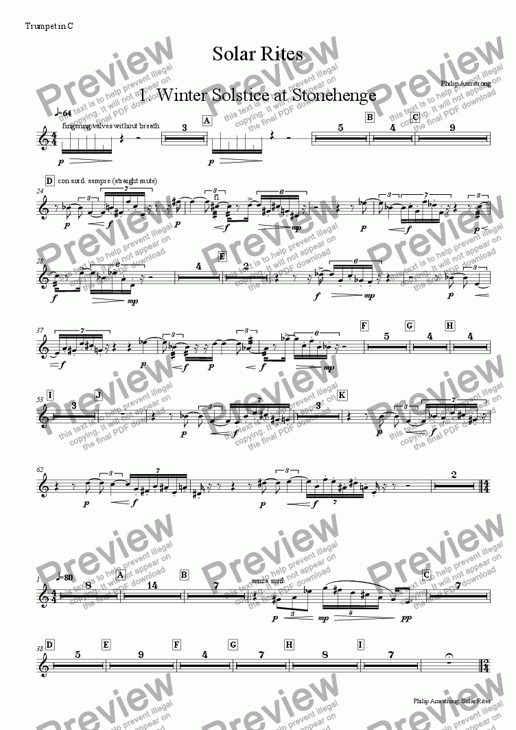 page one of the Trumpet part from Solar Rites - 1st movement
