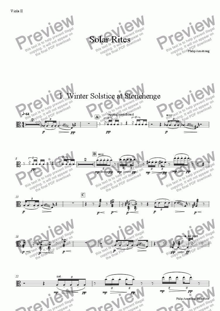 page one of the Viola II part from Solar Rites - 1st movement