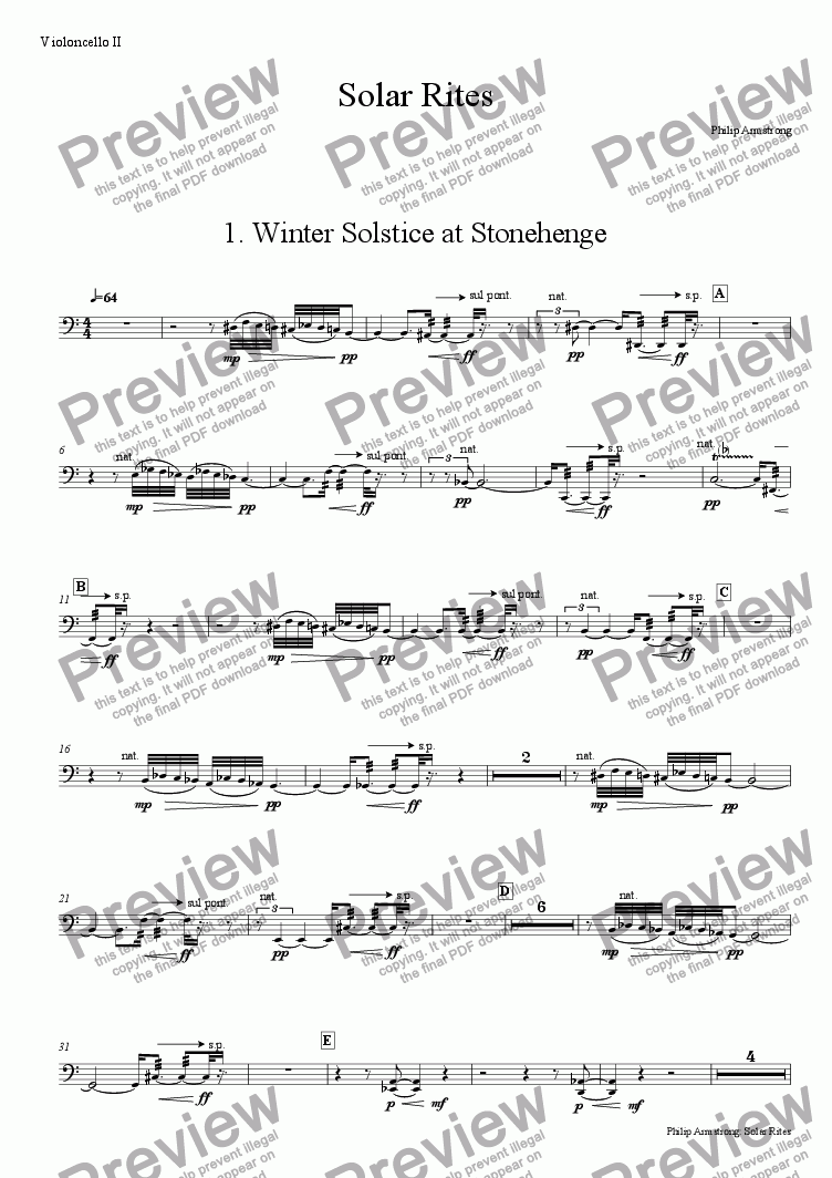 page one of the Violoncello II part from Solar Rites - 1st movement