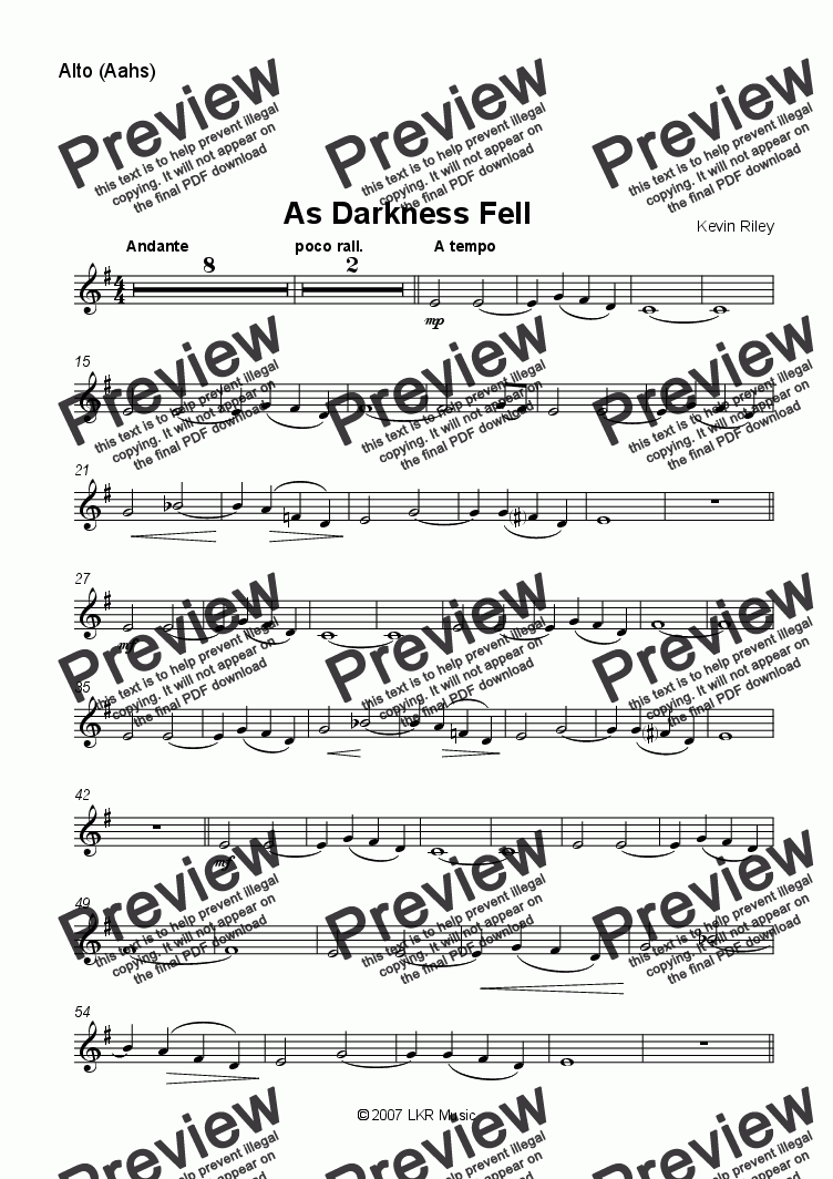 page one of the Alto part from As Darkness Fell