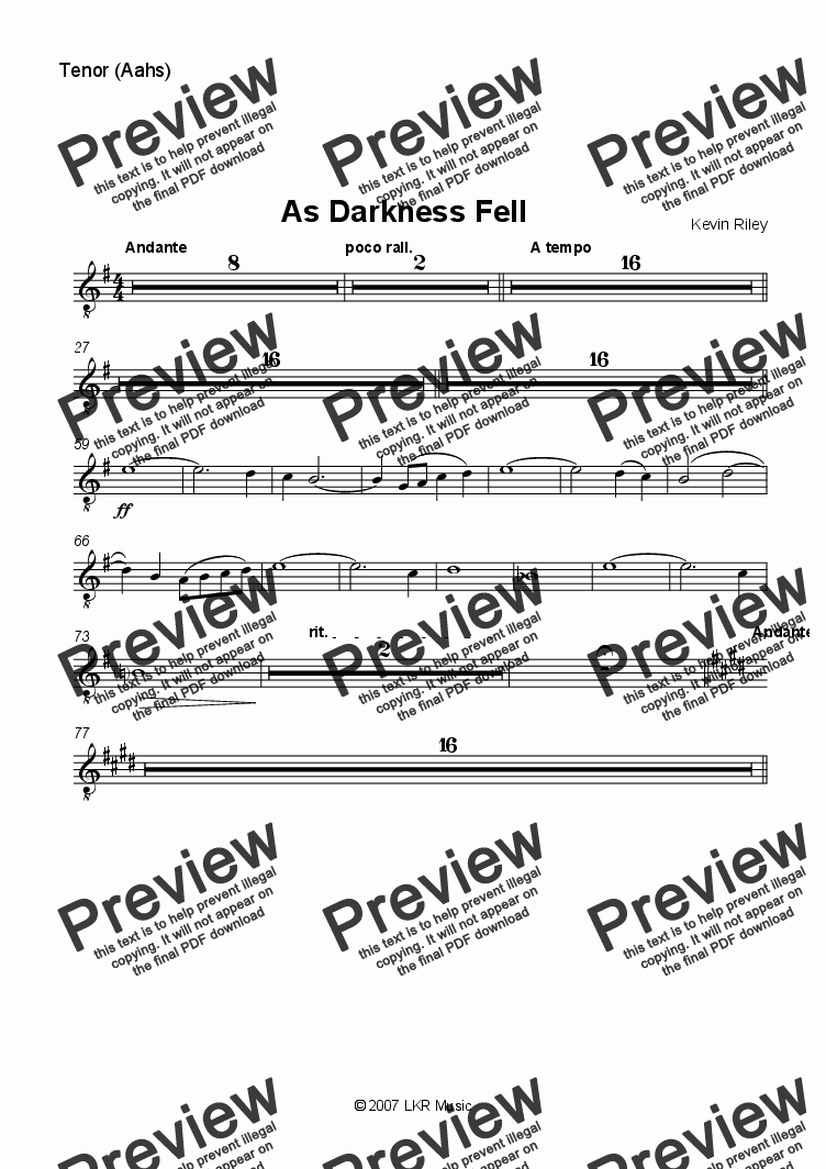 page one of the Tenor part from As Darkness Fell