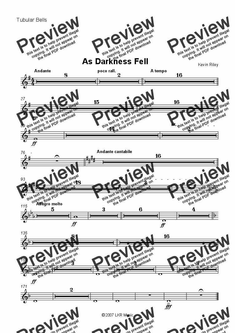 page one of the Tubular Bells part from As Darkness Fell