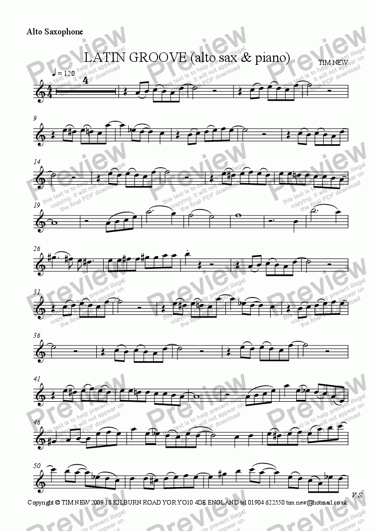 page one of the alto sax part from LATIN GROOVE (alto sax & piano)