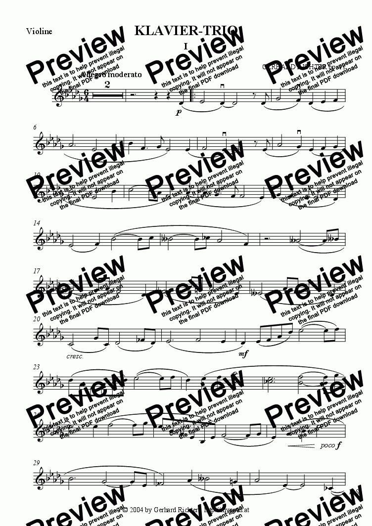 page one of the Violin part from ► Piano Trio D-flat major (op. 12, 2nd mvt)