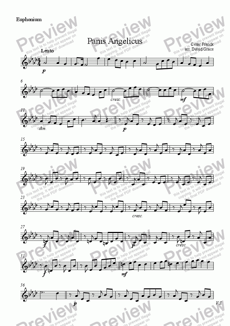 page one of the Euphonium part from Panis Angelicus [Franck]
