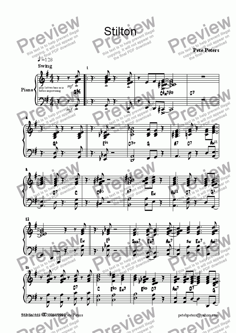 page one of the Piano part from Stilton [Jazz/Pop 5tet]