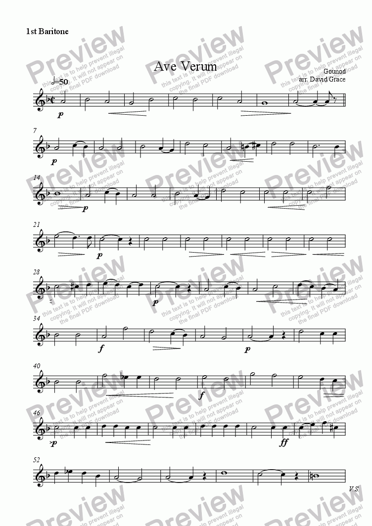 page one of the Baritone part from Ave Verum [Gounod]