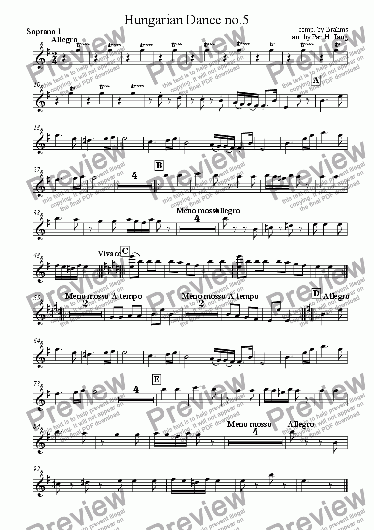 page one of the Descant Recorder 1 part from Hungarian Dance No 5