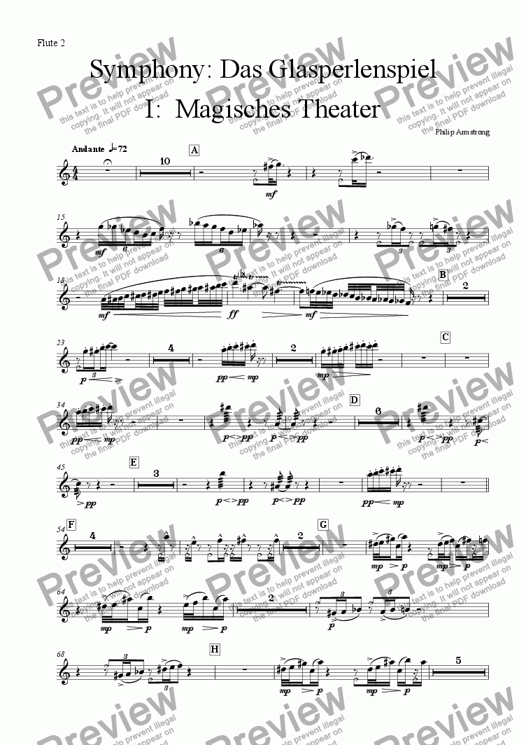page one of the Flute 2 part from Symphony Das Glasperlenspiel Movement 1