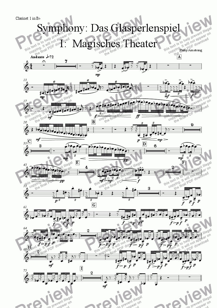 page one of the Clarinet 1 part from Symphony Das Glasperlenspiel Movement 1