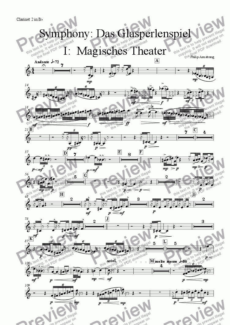 page one of the Clarinet 2 part from Symphony Das Glasperlenspiel Movement 1