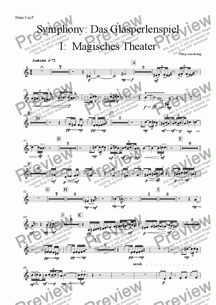 page one of the Horn 3 part from Symphony Das Glasperlenspiel Movement 1